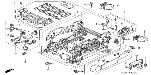 2005 TSX 4 DOOR 5AT FRONT SEAT COMPONENTS (L.) diagram