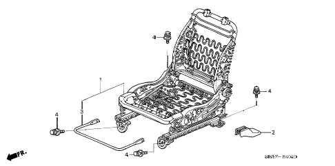 2004 TSX 4 DOOR 5AT FRONT SEAT COMPONENTS (R.) diagram