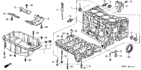 2007 TSX 4 DOOR 6MT CYLINDER BLOCK - OIL PAN diagram