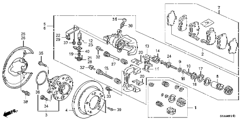 2008 TSX 4 DOOR 5AT REAR BRAKE diagram