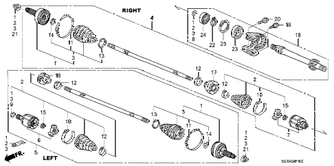 2008 TSX 4 DOOR 6MT DRIVESHAFT - HALF SHAFT diagram