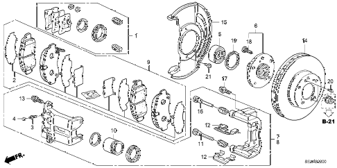 2008 TSX 4 DOOR 5AT FRONT BRAKE diagram