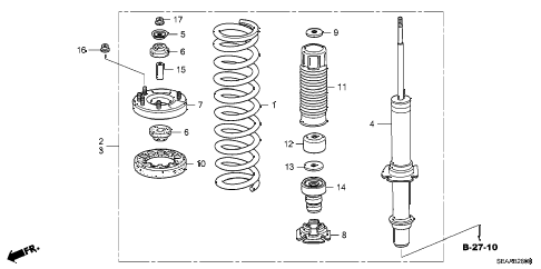 2008 TSX 4 DOOR 5AT FRONT SHOCK ABSORBER diagram