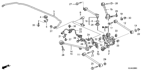 2008 TSX 4 DOOR 6MT REAR LOWER ARM diagram