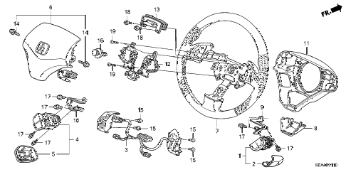 2008 TSX 4 DOOR 6MT STEERING WHEEL (SRS) diagram