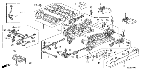2008 TSX 4 DOOR 5AT FRONT SEAT COMPONENTS (L.) diagram