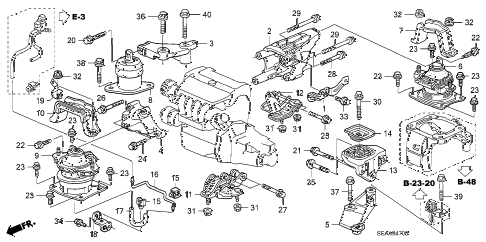 2008 TSX 4 DOOR 6MT ENGINE MOUNTS (MT) diagram