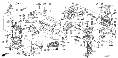 2008 TSX 4 DOOR 5AT ENGINE MOUNTS (AT) diagram
