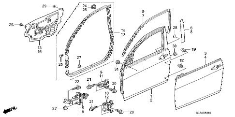 2008 TSX 4 DOOR 6MT FRONT DOOR PANELS diagram