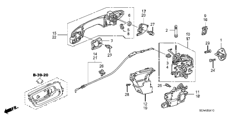 2008 TSX 4 DOOR 6MT REAR DOOR LOCKS - OUTER HANDLE diagram
