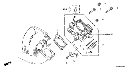 2008 TSX 4 DOOR 6MT THROTTLE BODY diagram