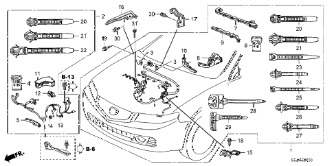 2008 TSX 4 DOOR 5AT ENGINE WIRE HARNESS diagram