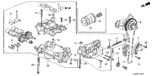 2008 TSX 4 DOOR 5AT OIL PUMP diagram