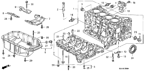 2008 TSX 4 DOOR 5AT CYLINDER BLOCK - OIL PAN diagram