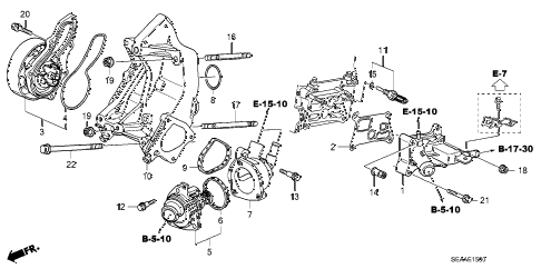 2008 TSX 4 DOOR 6MT WATER PUMP diagram