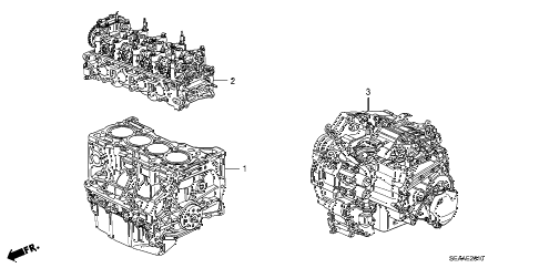2008 TSX 4 DOOR 6MT ENGINE ASSY. - TRANSMISSION ASSY. diagram