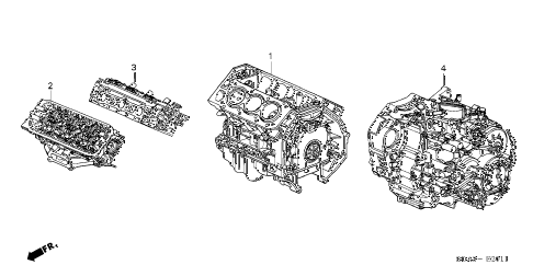 2005 TL SPORT 4 DOOR 6MT ENGINE ASSY. - TRANSMISSION ASSY. diagram