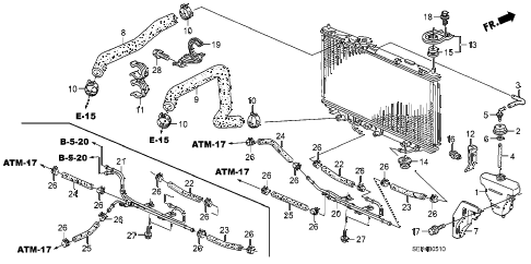 2006 TL SPORT 4 DOOR 6MT RADIATOR HOSE - RESERVE TANK diagram
