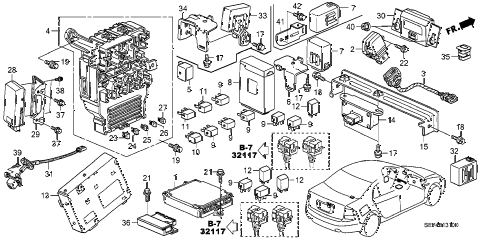 2004 TL SPORT 4 DOOR 6MT CONTROL UNIT (CABIN) diagram