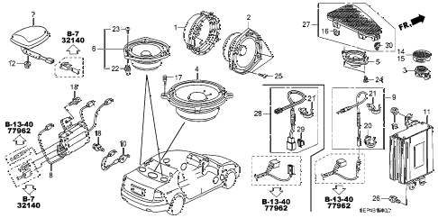 2007 TL TYPE-S 4 DOOR 6MT RADIO ANTENNA - SPEAKER diagram