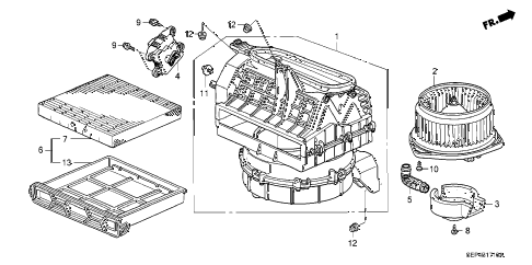 2004 TL SPORT 4 DOOR 6MT HEATER BLOWER diagram