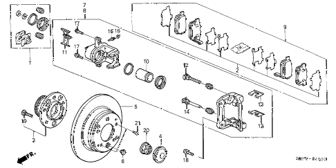 2005 TL BASE 4 DOOR 5AT REAR BRAKE diagram
