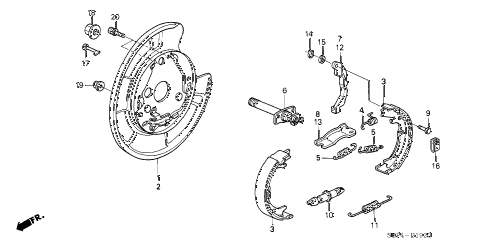2007 TL TYPE-S 4 DOOR 6MT PARKING BRAKE SHOE diagram