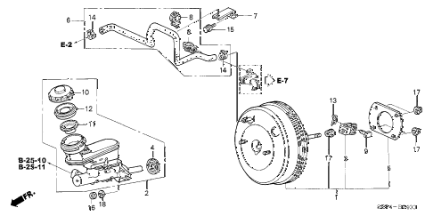 2005 TL BASE 4 DOOR 5AT BRAKE MASTER CYLINDER  - MASTER POWER (KA/KC) diagram