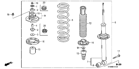 2005 TL SPORT 4 DOOR 6MT REAR SHOCK ABSORBER diagram