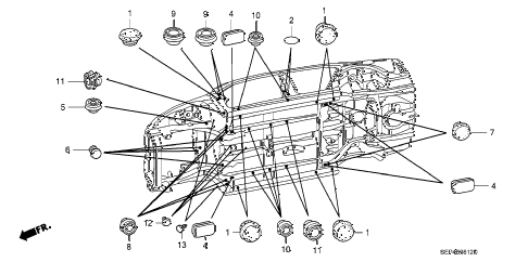 2007 TL BASE 4 DOOR 5AT GROMMET (LOWER) diagram