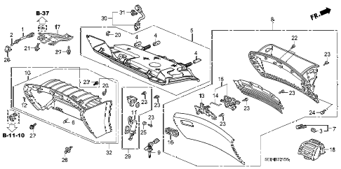 2007 TL TYPE-S 4 DOOR 6MT INSTRUMENT PANEL GARNISH (PASSENGER SIDE) diagram