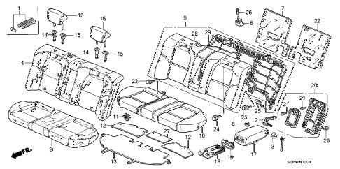 2005 TL BASE 4 DOOR 5AT REAR SEAT diagram