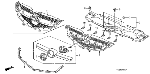 2007 TL TYPE-S 4 DOOR 6MT FRONT GRILLE diagram