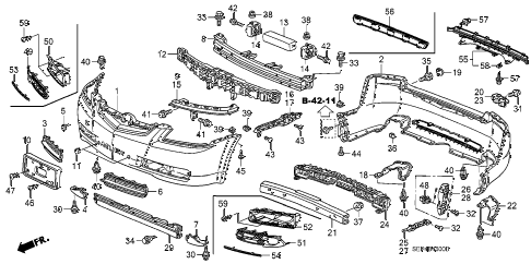 2007 TL TYPE-S 4 DOOR 6MT BUMPERS diagram