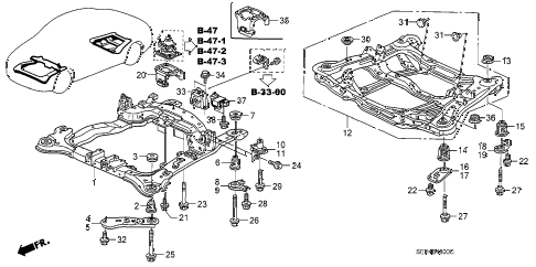 2004 TL SPORT 4 DOOR 6MT FRONT BEAM - REAR BEAM diagram