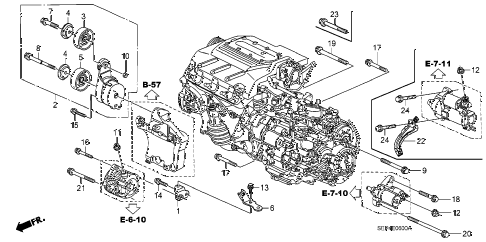 2006 TL SPORT 4 DOOR 6MT ALTERNATOR BRACKET diagram