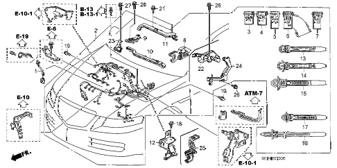 2005 TL SPORT 4 DOOR 6MT ENGINE WIRE HARNESS diagram