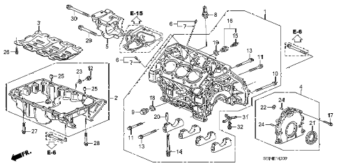 2006 TL SPORT 4 DOOR 6MT CYLINDER BLOCK - OIL PAN diagram