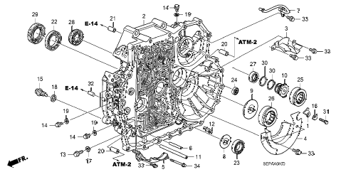 2008 TL TYPE-S 4 DOOR 5AT AT TORQUE CONVERTER CASE diagram
