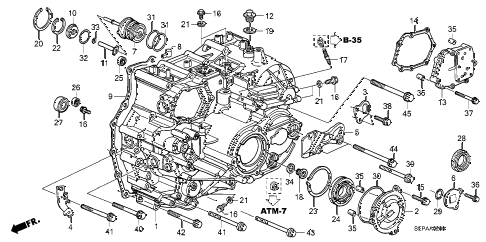 2008 TL TYPE-S 4 DOOR 5AT AT TRANSMISSION CASE diagram