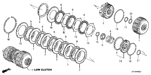 2008 TL TYPE-S 4 DOOR 5AT AT CLUTCH (LOW) diagram