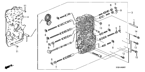 2008 TL TYPE-S 4 DOOR 5AT AT MAIN VALVE BODY diagram