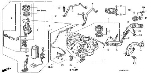 2008 TL TYPE-S 4 DOOR 6MT FUEL TANK diagram