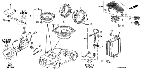 2008 TL TYPE-S 4 DOOR 5AT RADIO ANTENNA - SPEAKER diagram