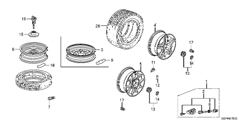 2008 TL TYPE-S 4 DOOR 6MT WHEEL DISK (KA) diagram