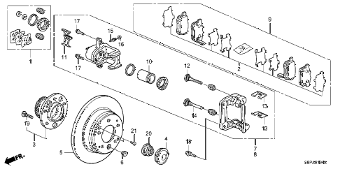 2008 TL TYPE-S 4 DOOR 6MT REAR BRAKE diagram