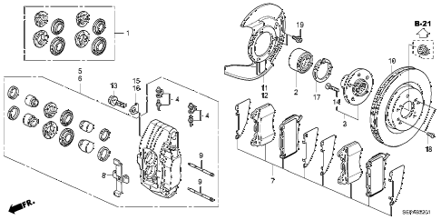 2008 TL TYPE-S 4 DOOR 5AT FRONT BRAKE (2) diagram