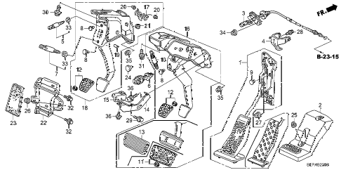 2008 TL TYPE-S 4 DOOR 6MT PEDAL diagram