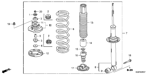 2008 TL TYPE-S 4 DOOR 5AT REAR SHOCK ABSORBER diagram