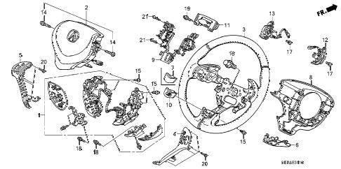 2008 TL TYPE-S 4 DOOR 6MT STEERING WHEEL (SRS) diagram